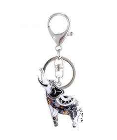 English Bulldog Pet Dog Backpack Handbag Purse Bottle Keychain Tassel Charm