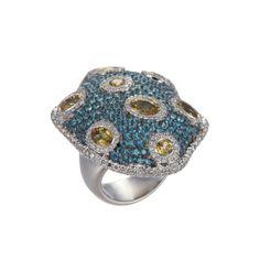 Salavetti 18K White Gold Blue Turtle Shell Ring with Yellow Sapphire, Blue Topaz & Diamonds (=)