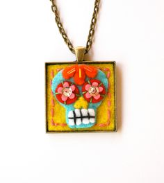 Dia de los Muertos - Sugar Skull Necklace -   Day of the Dead Jewelry -  Mexican Folk Art by calaverasYcorazones on Etsy https://www.etsy.com/listing/111164756/dia-de-los-muertos-sugar-skull-necklace