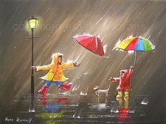 PETE RUMNEY FINE ART MODERN OIL ACRYLIC ORIGINAL PAINTING COLOURS AND UMBRELLAS in Art, Artists (Self-Representing), Paintings | eBay