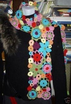Fascinating Hand Crocheted Rainbow Flowers Scarf Cool Para Venta 1