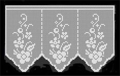 Crochet: Samples crochet curtains with graphics. Crochet Boarders, Crochet Lace Edging, Crochet Doilies, Crochet Flowers, Filet Crochet, Crochet Art, Crochet Home, Crochet Curtains, Lace Curtains