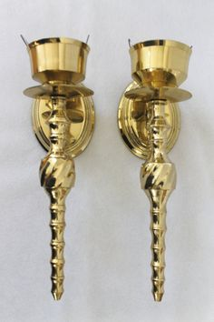 Vintage Pair of Brass Candlestick Holder Wall by AbslewtlyVintage
