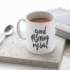 Old English Company Good Morning My Love Mug (715 RUB) ❤ liked on Polyvore featuring home, kitchen & dining, drinkware, christmas mugs, valentine mug, xmas mugs and christmas drinkware