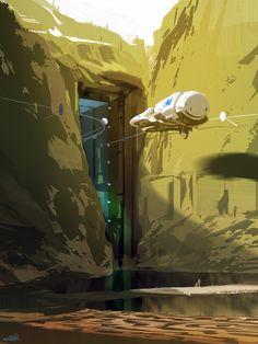 concept art by Sparth Art Environnemental, Cg Art, Sci Fi Environment, Environment Design, Matte Painting, Arte Cyberpunk, Sci Fi Ships, Futuristic City, Science Fiction Art