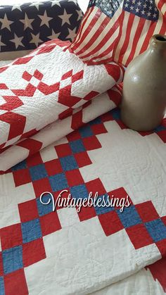 We love the Americana look. We are stocked with antique quilts in Red, White and Blue. Come see!
