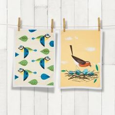 birds tea towels - blue tit / robin (2-pack)