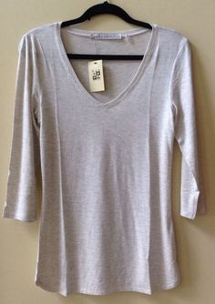 NWT MAX STUDIO WOMEN'S SOLID OATMEAL MODAL/SPANDEX 3/4 SLEEVE BLOUSE SIZE S-$58 #MaxStudio #Blouse