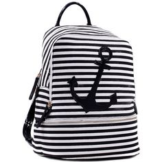 Dasein Anchor Canvas Striped Backpack with Adjustable Shoulder Straps ($40) ❤ liked on Polyvore featuring bags, backpacks, black, striped canvas backpack, light weight backpack, canvas rucksack, black backpack and backpack strap pouch