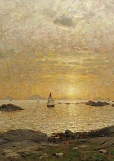 "Adelsteen Normann (1848-1918) ~ ""Sunset over the Bay"" (Détail)"