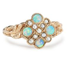 Embellished Opal, Pearl And Gold Ring