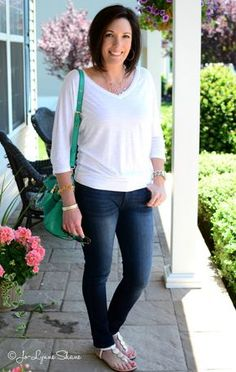 Fashion Over 40: Casual Summer Outfit: White and Denim