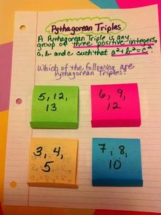 Equation Freak: Pyhthagorean Triples Interactive Notebook page