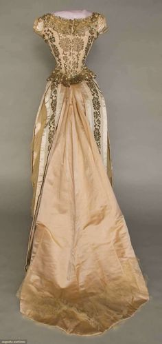 GOLD BROCADE BALL GOWN, 1880-1885