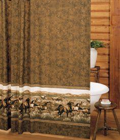 Western Shower Curtains: Wild Horses Shower Curtain|Lone Star Western Decor