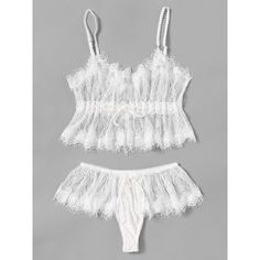Eyelash Lace Sheer Lingerie Set ❤ liked on Polyvore featuring intimates, transparent lingerie, sheer lingerie and see through lingerie