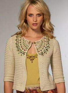 crochet giacca con applicazioni