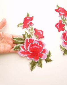 eb91d2997d0b Large flower patch Red flower iron on patch Embroidered flower applique  Large peony flower patch Boho flower patch Sew on flower patch