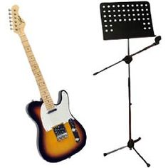 Musical Instruments - PylePro (KTMUPK03) 42-Inch 6 String Double Cutaway Paulownia Wood Electric Guitar (3 Color Sunburst) + Heavy Duty Tripod Microphone And Music Note Stand.