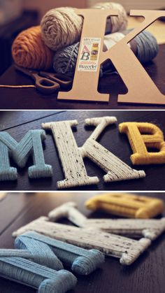 MDF or Wooden Letters wrapped in wool/yarn... would look great in a craft or sewing room