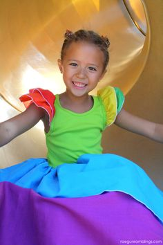 Easy Rainbow Princess Dress in 1-Hour tutorial - Sooo Stinkin Cute!! - She uses a tank and adds puffy, flutter sleeves to them for the top!