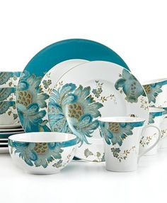 I love the colors in this pattern.  222 Fifth Dinnerware, Eliza Teal, from www.macys.com