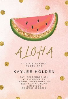 Pink and Gold Watermelon - Birthday Invitation #invitations #printable #diy #template #birthday #party