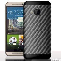 Coque portable M9 Carbone Bi Couleur - pour telephone mobile HTC ONE M9. #coque #carbone #htc #one #M9