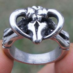 Biker Steer Skull Cow Bull Buffalo Baphomet Ram Laveyan Satan Devil Pewter Ring #Unbranded #FashionRing