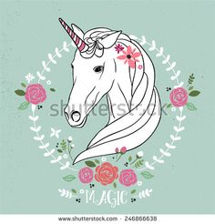 Find Cute Unicorn Vector Illustration Flowers Wreath stock images in HD and millions of other royalty-free stock photos, illustrations and vectors in the Shutterstock collection. Flower Design Images, Flower Designs, Cute Unicorn, Royalty Free Images, Royalty Free Stock Photos, Unicorn Images, Unicorn Illustration, Art Drawings, Moose Art