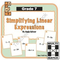 These cards are designed for remediation, to help students see how simplifying simple linear expressions is related to adding and subtracting integers. Seventh Grade, Eighth Grade, Student Learning, Teaching Math, Math Games, Math Activities, Adding And Subtracting Integers, Mathematical Practices, Math Classroom