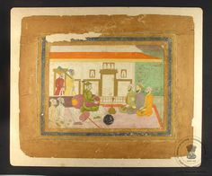 A Mughal prince seated on white carpet smoking huqqa, discussing with the royal courtiers inside the palace. Most probably Dara Shikoh.
