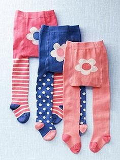 mini Boden's Multi-Pack Tights ($28) feature three styles (stripe, polka dot and plain) with an oversize flower on the backside.