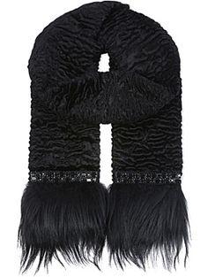 333fdf2a54f9f S MAX MARA Ruffled Astrakan embellished scarf Woven Scarves