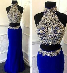 Glamorous prom dress,Sexy Two Piece Prom/Homecoming Dresses with Sparkly Rhinestone,Beading prom dress,