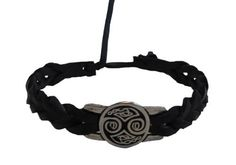 """Leather Celtic Bracelet (Double Celtic Knot-Black) Amethyst Dublin. $7.95. Fastens by tying a knot through a loop.. Genuine Leather. Bracelet is approximately 6 1/2"""" long not including fastener. Metal bead woven onto leather is approximately 3/4"""" wide."""