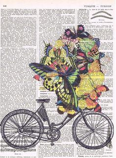 Bicycle BikeButterflies.Collage.Fantasy. by studioflowerpower, $8.50