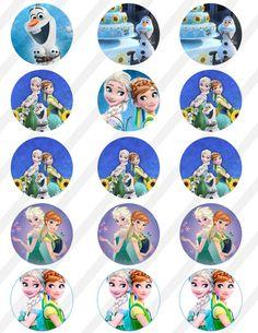 Artículos similares a DESCARGAR INSTANT congelados fiebre 8, 5 X 11 2.05 en la hoja de Collage Digital a cupcake Toppers, botón en Etsy