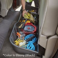 Contain organize and conceal items under the rear seat of your vehicle with this durable molded plastic Underseat Storage Box Ebony Black Black for CREW CAB Models This WILL NOT work on a DOUBLE CAB Truck Replaces Part  22793542