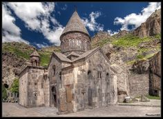 Medieval Geghard Monastery, famous for its churches and halls carved in the rocks, is one of the most visited historic monuments of Armenia and also is listed in UNESCO World Heritage List. Kotayk province - Armenia