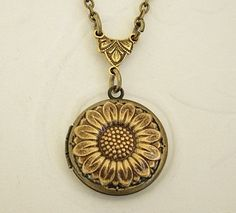 Small Gold Sunflower Locket Wedding Bride Bridesmaid Tiny Necklace Daughter Anniversary Birthday Wife Mother Sister Photo Picture This is an