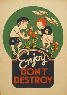 ORIGINAL POSTER DETAILS 1936 or 1937 silkscreen Poster showing two children picking flowers.  Ohio  Federal Art Project Library of Congress Prints and Photographs Division  flowers, children, posters, screen prints, conservation