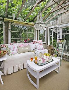 Gorgeous rustic luxe she shed by Heather Cameron with shabby chic decor, crystal chandelier, and construction made from vintage windows! Come explore She Shed Chic, Potting Shed & Backyard Inspiration. Shabby Chic Greenhouse, Small Greenhouse, Greenhouse Ideas, Backyard Greenhouse, Portable Greenhouse, Fun Backyard, Greenhouse Interiors, Backyard Movie, Backyard Sheds