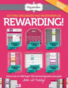 Getting organized has never been so rewarding!  Play to win Organizher prize packs and Target gift cards instantly!