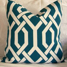Pillow Cover Cushion Cover 20x20 Turquoise Fabric P Kaufmann Outdoor Woven Slick Aquamarin
