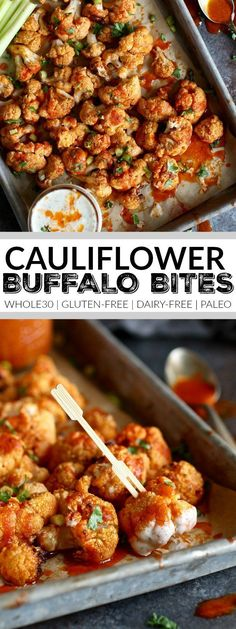 Cauliflower Buffalo Bites with dairy-free ranch make for a tasty, healthy & fun game-day appetizer. They'll be the talk of the party! Whole30 | Gluten-free