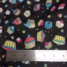 "Printed poly cotton white CUP CAKE print 115cm 45"" wide poly cotton by metre 114 | eBay"