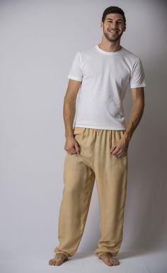 Solid Color Drawstring Men's Yoga Massage Pants in Cream