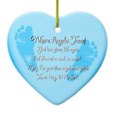 Heart Shaped Baby Feet Birth Ornament_Blue Ornament #zazzle #ornaments #birth #baby #poem #footprints
