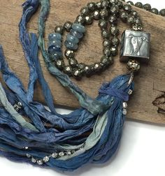 Anne Choi Knotted Sari Silk Ribbon Tassel Necklace - Boho Long Pyrite Beaded Necklace African Blue Kyanite Bohemian Style by loveandlulu Ribbon Jewelry, Tassel Jewelry, Fabric Jewelry, Jewelry Art, Beaded Jewelry, Jewelry Design, Jewlery, Fabric Necklace, Boho Necklace
